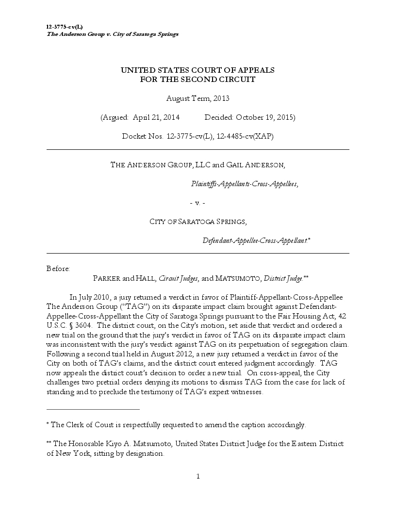 US Court of Appeals Ruling In Favor of Anderson vs City of Saratoga Springs Oct 19th 2015-1